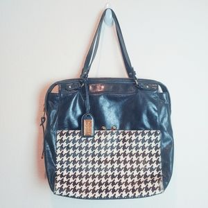 Badgley Mischka Leather/Calf Hair Houndstooth Tote